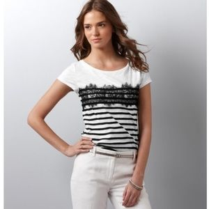 Preppy striped lace tee